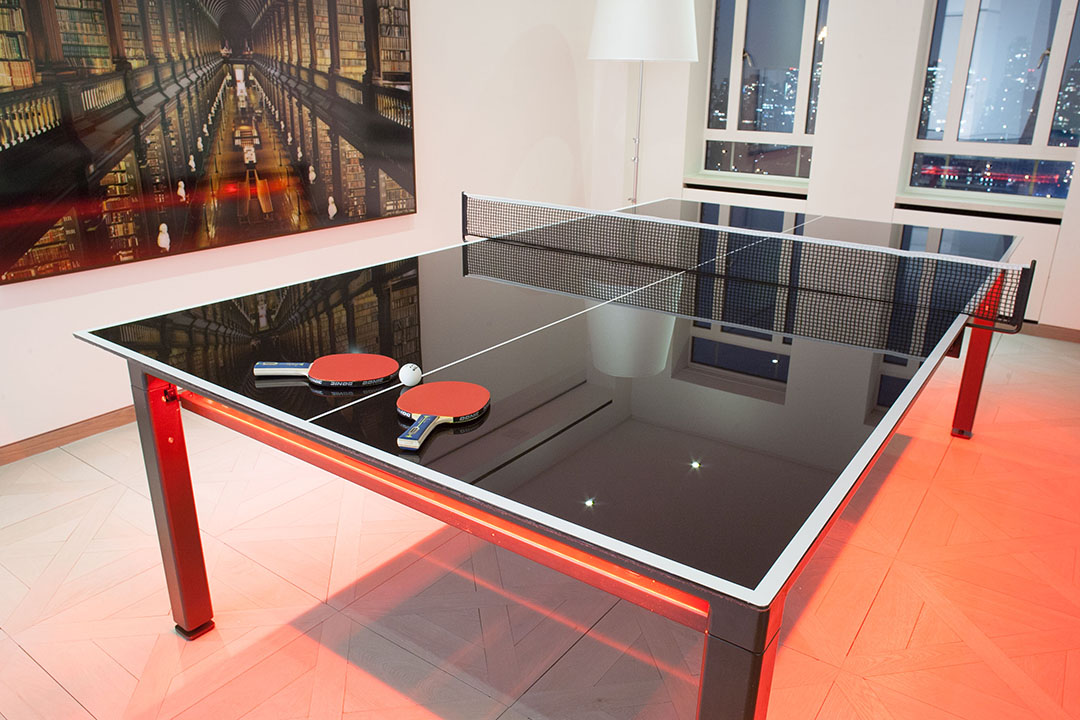 Glass Ping Pong Conversion Top In Design Table Tennis